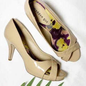 Madden Girl Gertiee Nude Patent Leather Heel